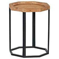 Stone & Beam Arie Octagonal End Table, 17.3″ W, Natural