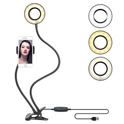 Clamp-on Gooseneck LED Selfie Ring Light with Cell Phone Stand for Live Stream Flexible Cellphon ...