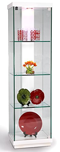 Chintaly Imports 6633 Accent Glass Curio Cabinet, Clear/White