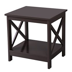SONGMICS X-Design Sofa End Table, Wooden Side Table, Nightstand with 2 Display Shelves, Espress ...