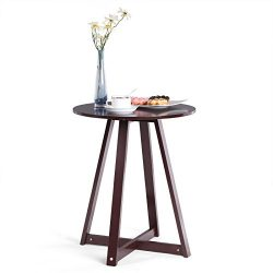 SONGMICS Minimalist Painted Round End Side Coffee Table Plant Stand Mahogany Color ULET09BR