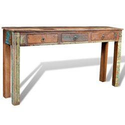 vidaXL Reclaimed Wood Side Table/Console Table with 3 Drawers Rustic Entryway Hall