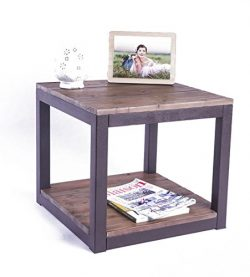 Care Royal Rustic Vintage Industrial Solid Wood and Metal 19.7″ End Side Table/Night Stand ...