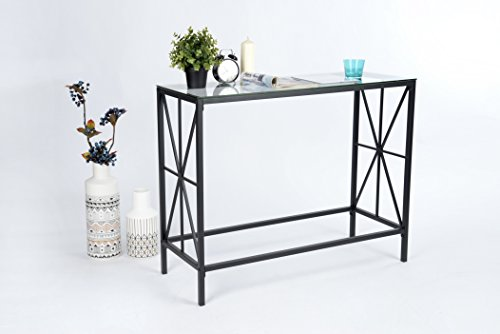 Black Metal Frame / Clear Tempered Glass X-Design Console Sofa Table 40″W