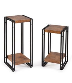 FIVEGIVEN Side Table Set of 2 for Bedroom End Table Set for Living Room Wood and Metal, Brown