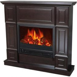 Electric Fireplace with 44″ Mantle, Classic, Realistic flame effect/ Dark Chocolate