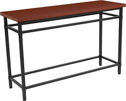 Contemporary Modern Norway Cherry Inlaid Wood Grain Finish Console Table with Black Metal Legs