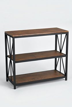 Dark Coffee Black Metal Frame 3-tier Console Table Bookcase Bookshelf