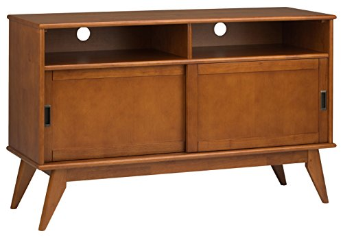 Simpli Home Draper Mid Century Tall TV Media Stand For TVs upto 60 inches, Teak Brown