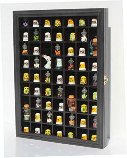 59-Opening Souvenir Thimble Small Miniature Display Case Cabinet Rack Holder, Glass Door, (Black)