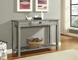 WE Furniture AZF48CYETGW Country Style Entry Console Table, 48″, Gray Wash