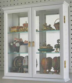 White Wall Curio Cabinet Display Case For Figurines Small Treasures Miniatures