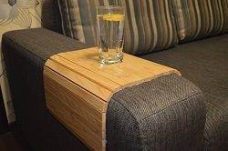 Sofa Arm Tray Table 18×12 Inches Folding Drink Holder for Round and Square Couch Flexible C ...