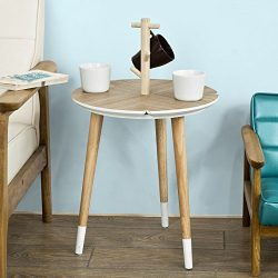 SoBuy Haotian Round Wooden Side Table, Tea Coffee Table, Console Table,End Table with Cup Holder ...