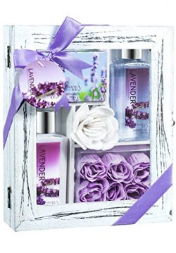 Perfumed Relaxing Lavender Aromatherapy Spa Bath Skincare Gift Set Contains Body Lotion, Shower  ...