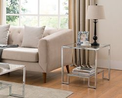 Chrome Finish / Glass Top Side End Table with Lower Shelf
