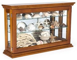 Displays2go Wall or Countertop Wood Curio Cabinet with Adjustable Shelves, Light Oak (CC3222OK)