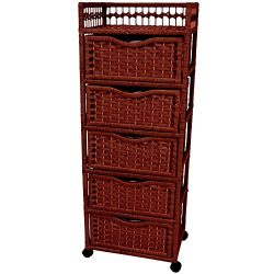 Oriental Furniture 46″ Natural Fiber Chest of Drawers on Wheels – Mahogany