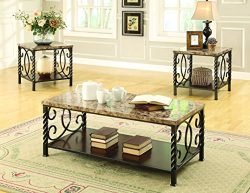 Coaster 701695 Home Furnishings 3 Piece Occasional Set, Faux Marble/Metal
