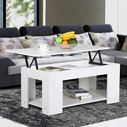 Yaheetech Modern Grade E1 MDF & Iron Lift-up Top Tea Coffee Table w/Hidden Storage Compartme ...