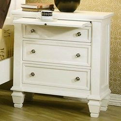 Wildon 3 Drawer Nightstand in White Finish – This Traditional Wood Accent Chest Is a Great ...