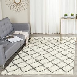 Safavieh Dallas Shag Collection SGD258H Ivory and Dark Grey Area Rug (5'1″ x 7&#8217 ...