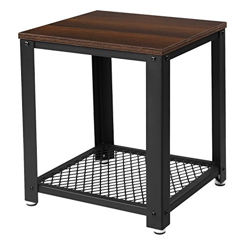 Buy Walnut And Black Metal Square Coffee Table From Fusion: SONGMICS 2-tiered End Table Square-Frame Side Table With