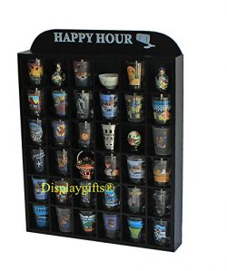 """Happy Hour"" Shot Glass Display Case Shelf Wall Curio, No Door"