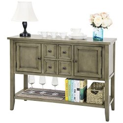 Harper & Bright Designs Acacia Mangium Sideboard Console Table with Bottom Shelf (Antique Gray)