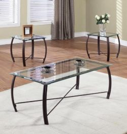 Kings Brand Furniture 3 Piece Beveled Glass with Copper Bronze Metal Frame Coffee Table & 2  ...