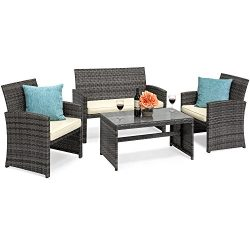 Best Choice Products 4-Piece Wicker Patio Furniture Set w/Tempered Glass, 3 Sofas, Table, Cushio ...