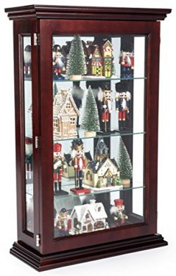 Displays2go, Solid Mahogany Wood, Plywood, & Tempered Glass Construction – Dark Cherry Finis ...