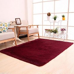Dreamyth Fluffy Rugs Anti-Skid Shaggy Area Rug Dining Room Home Bedroom Carpet Floor Mat (Red)