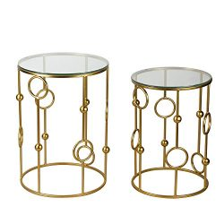 Joveco Gold End Tables With Glass Top. Decorative For Living Room, Patio, Garden or Bed room. Go ...