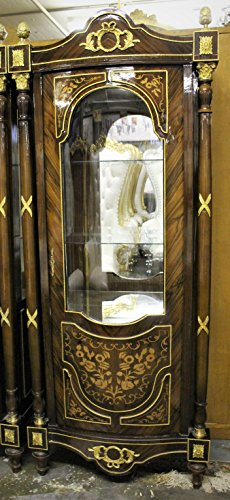 SALE!!! Solid Wood China Curio Cabinet with Marquetry and Ormolu Accents