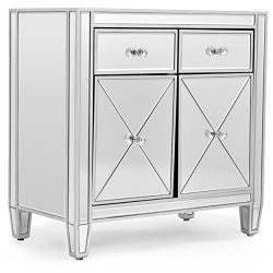 Cabinet Storage Mirrored Accent Cabinet Storage Chest Drawer Bedroom Furniture Silver