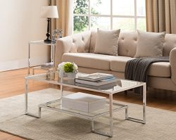 Tempered Clear Glass / Chrome Metal Frame Cocktail Coffee Table with Bottom Shelf 44″W