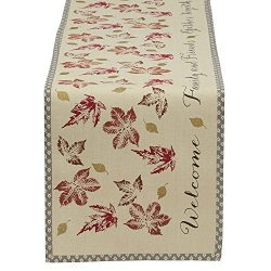 DII 14×72″ Cotton Table Runner, Rustic Leaves – Perfect for Fall, Thanksgiving, ...