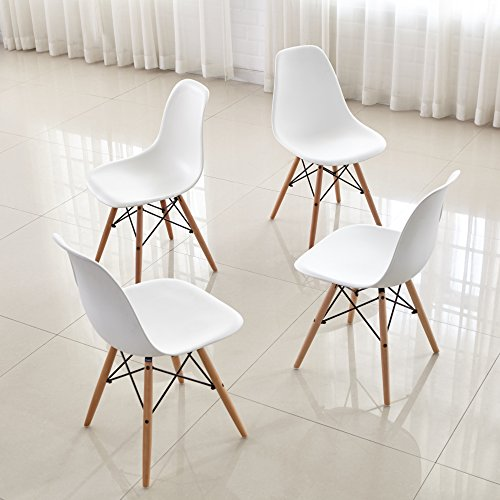Dining Chairs FurnitureR Set of 4 Dinning Chairs Eames Style Seat Height Chair Natural Wood Legs ...