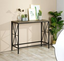 Vintage Brown Top / Black Metal Frame X-Design Console Sofa Table 40″W