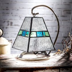 J Devlin Lam 703 Tiffany Stained Glass Mini Lamp Clear Blue and Green Accent Night Light Memory