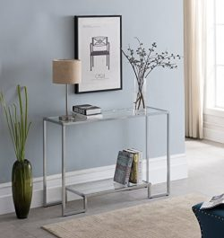 Chrome Finish / Glass Top 2-tier Console Sofa Table 44″W