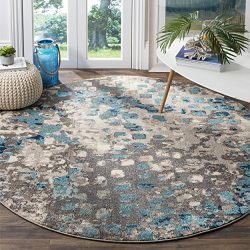 Safavieh Monaco Collection MNC225E Modern Abstract Grey and Light Blue Round Area Rug (5′  ...