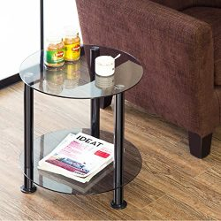 FITUEYS Grey Glass End Table Accent Side Table Coffee Table DT204801GB