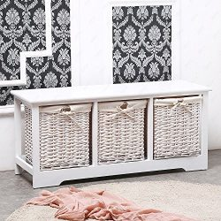 SUNCOO Retro White Wood Shabby Chic Nightstand End Side Bedside Table w/Wicker Storage (3 Wicker ...