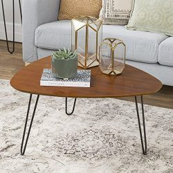 WE Furniture 32″ Hairpin Leg Wood Coffee Table – Walnut