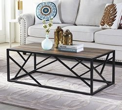 "Homissue 44"" Industrial Style Coffee Table, Rectangular Cocktail Table with Sturdy Metal Base fo ..."
