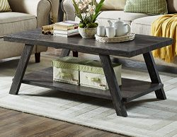 Roundhill Furniture OC3371 Athens Contemporary Replicated Wood Shelf Coffee Table in Charcoal Finish