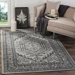 Safavieh Adirondack Collection ADR108A Silver and Black Oriental Vintage Medallion Area Rug (6&# ...