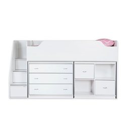 South Shore Mobby Loft Bed with Chest and Storage Unit, Twin, Pure White